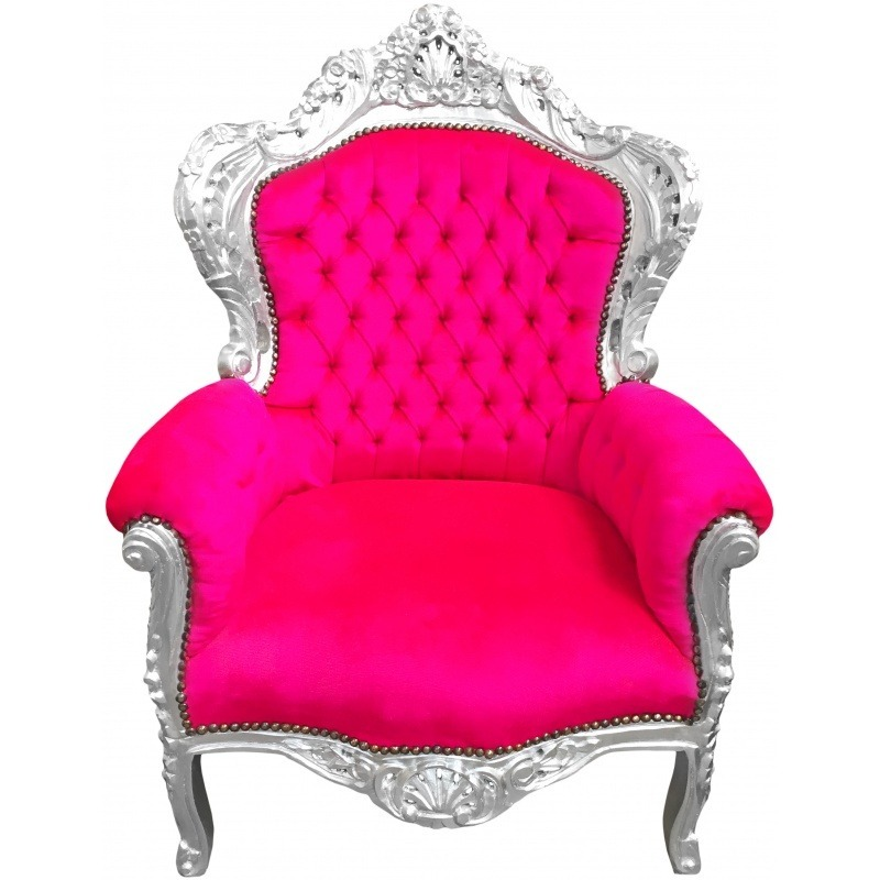 grand fauteuil de style baroque velours fuchsia et bois argent. Black Bedroom Furniture Sets. Home Design Ideas