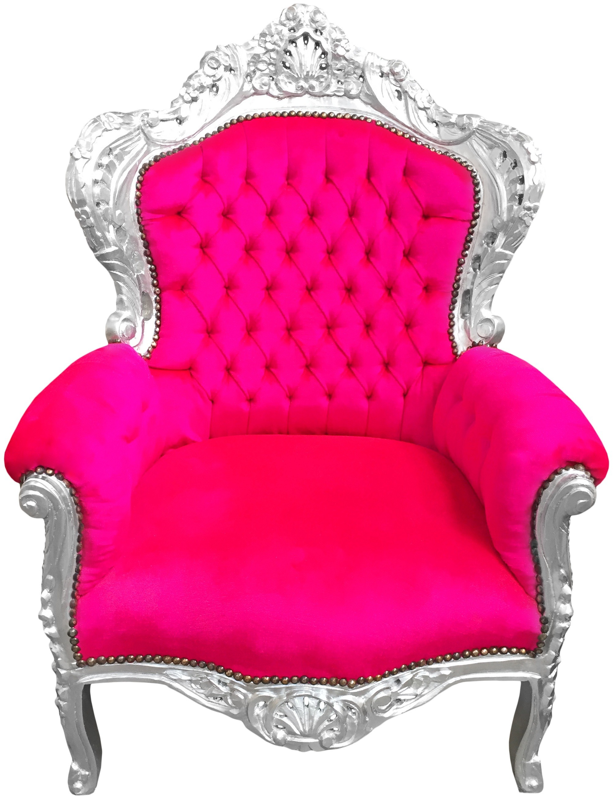 Deco Rose Fushia Salon big baroque style armchair fuchsia pink velvet and silver wood