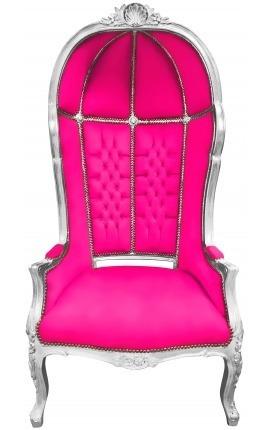 Grand fauteuil carrosse de style baroque tissu velours fuchsia et bois argent