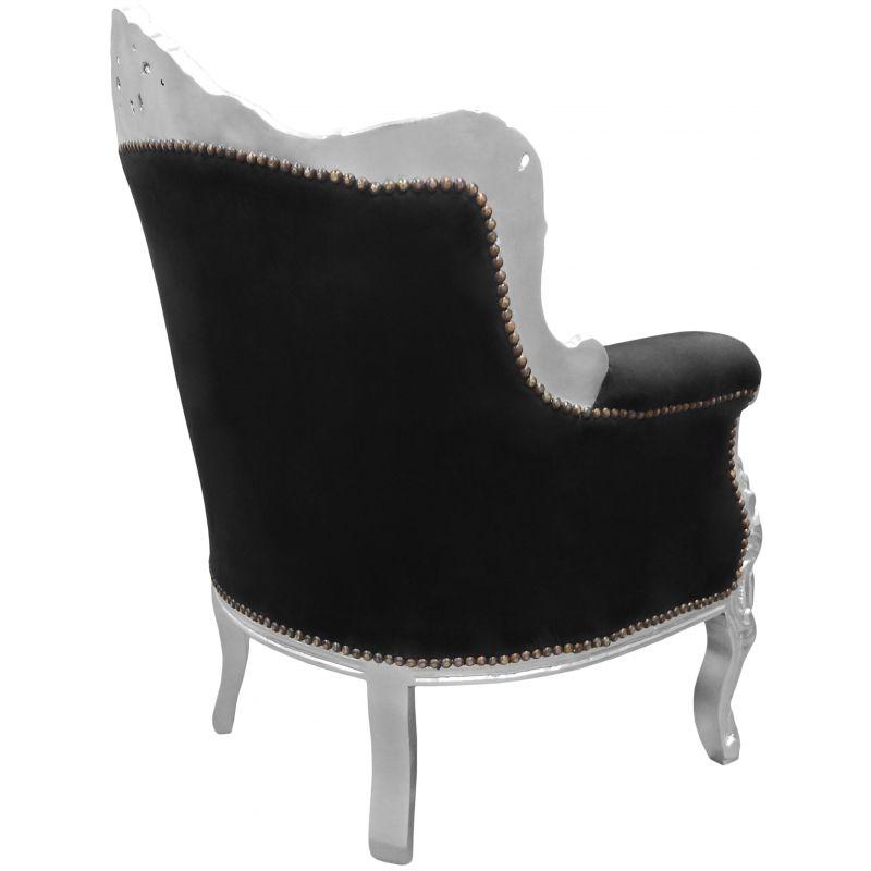 fauteuil princier de style baroque velours noir et bois. Black Bedroom Furniture Sets. Home Design Ideas