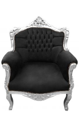 "Armchair ""princely"" Baroque black velvet and silver wood"
