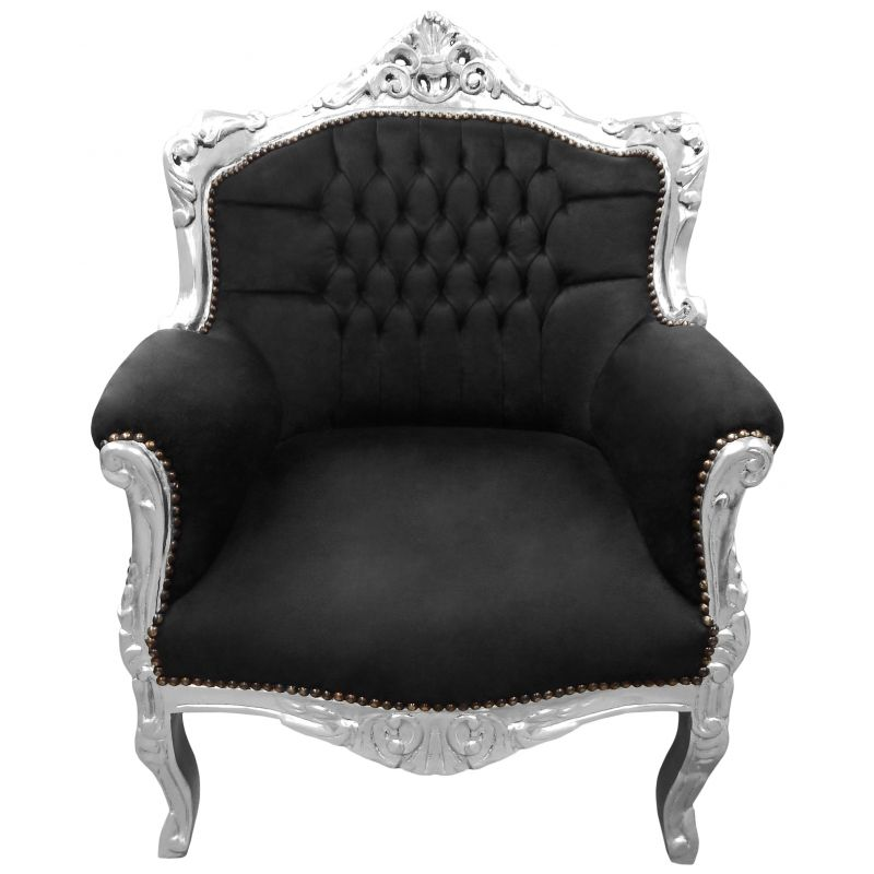 fauteuil princier de style baroque velours noir et bois argent. Black Bedroom Furniture Sets. Home Design Ideas