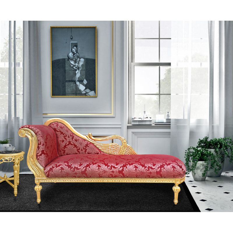 Large Baroque Chaise Longue With A Swan Red Goblin Fabric And