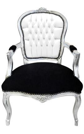 Fauteuil Louis XV de style baroque simili cuir & velours noir et blanc et bois argent