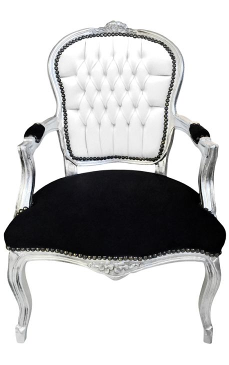 Baroque armchair of Louis XV style white faux leather , black velvet and silver wood
