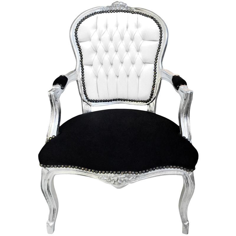 fauteuil baroque louis xv simili cuir et velours noir et. Black Bedroom Furniture Sets. Home Design Ideas