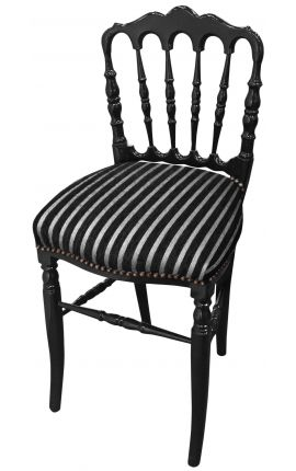 Napoleon III style chair striped fabric and black wood
