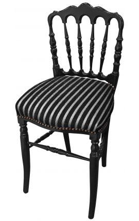 Chaise de style Napoléon III tissu rayé et bois noir