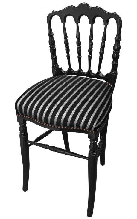 chaise de style napol on iii tissu ray et bois laqu noir. Black Bedroom Furniture Sets. Home Design Ideas