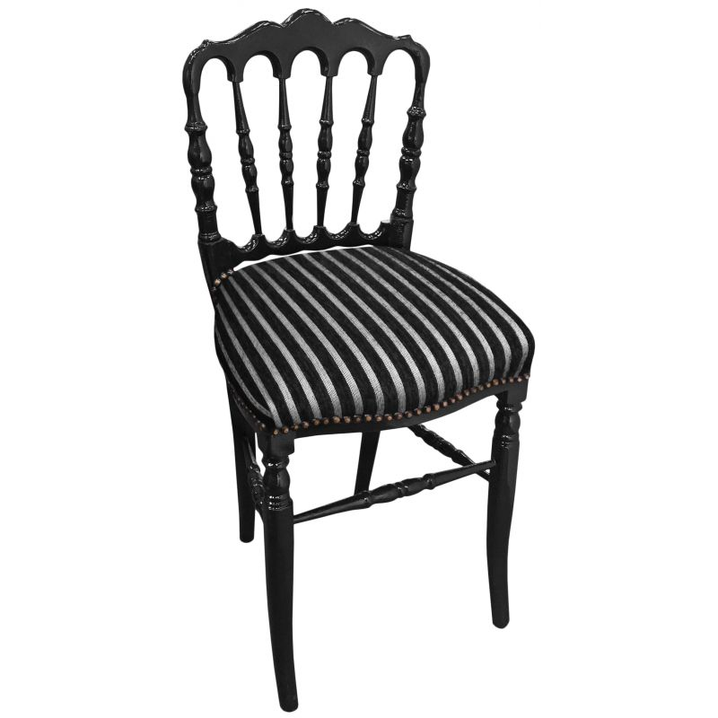 Napoleon Styled Saddle Brown Kitchen Chair: Napoleon III Style Chair Striped Fabric And Black Shine Wood