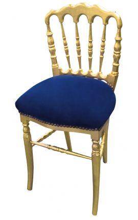 Chaise de style Napoléon III tissu bleu et bois doré