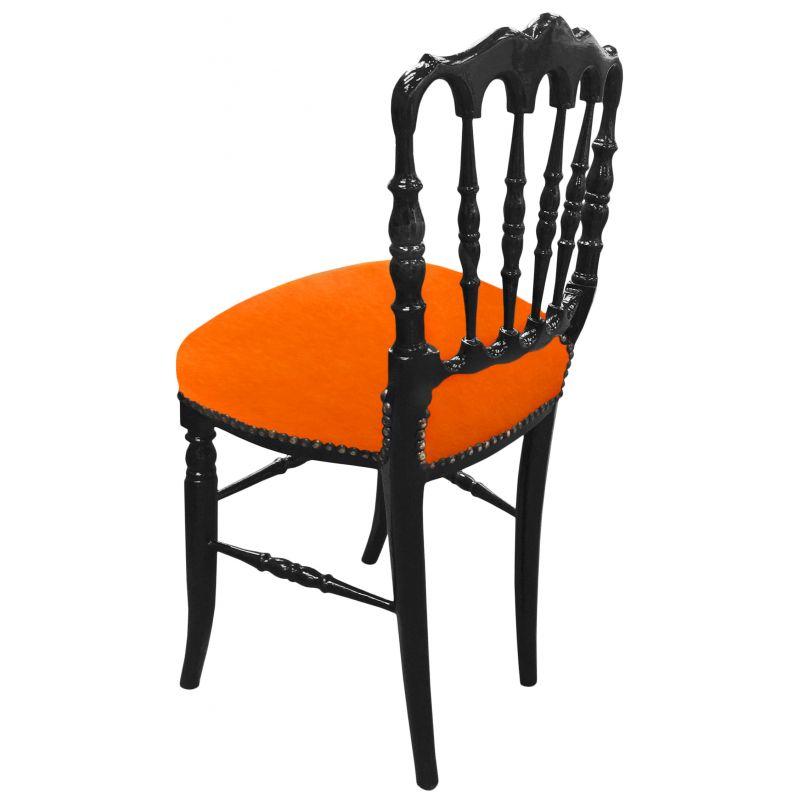 Chaise de style napol on iii tissu orange et bois noir for Chaise bois noir