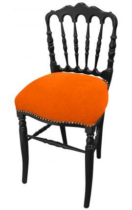 Chaise de style Napoléon III tissu orange et bois noir