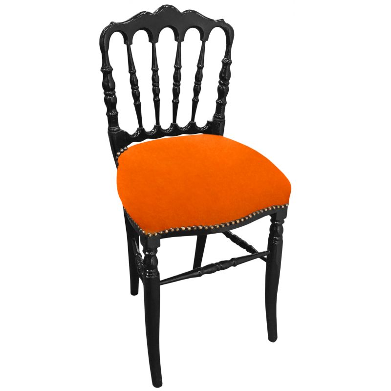 chaise de style napol on iii tissu orange et bois noir. Black Bedroom Furniture Sets. Home Design Ideas