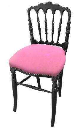 Chaise de style Napoléon III tissu rose et bois noir