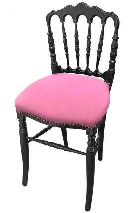 Napoleon III style chair fabric pink and black wood