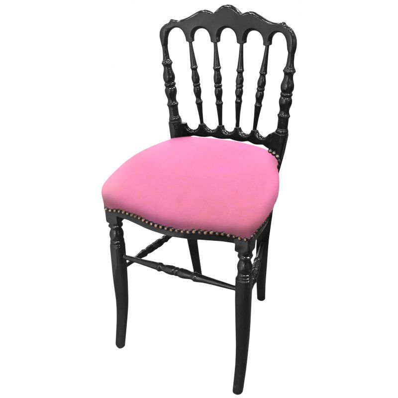 Napoleon iii style chair velvet fabric pink and black wood for Black and pink furniture