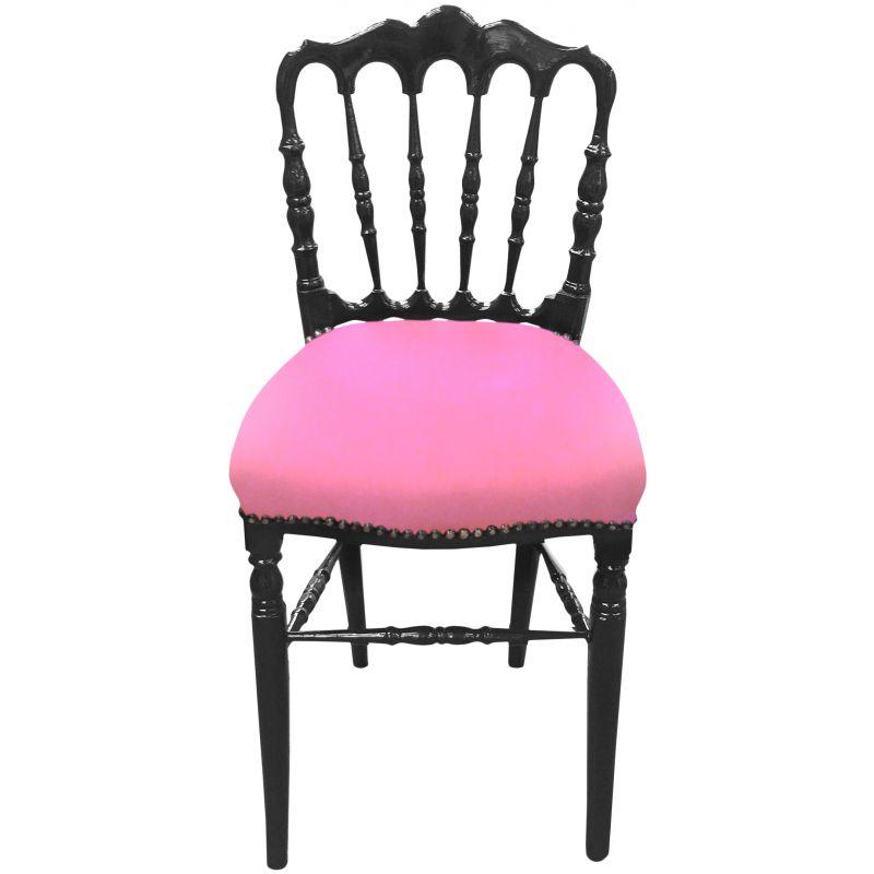 chaise de style napol on iii tissu velours rose et bois noir. Black Bedroom Furniture Sets. Home Design Ideas