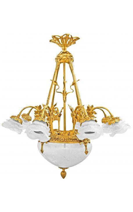 Large Art Nouveau style chandelier with 8 sconces