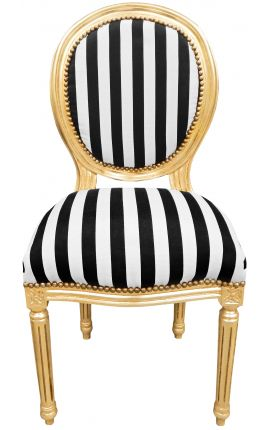 Louis XVI style chair with black and white stripes and gilded wood