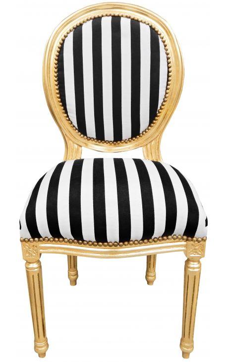 chaise de style louis xvi tissu ray noir et blanc et bois dor. Black Bedroom Furniture Sets. Home Design Ideas