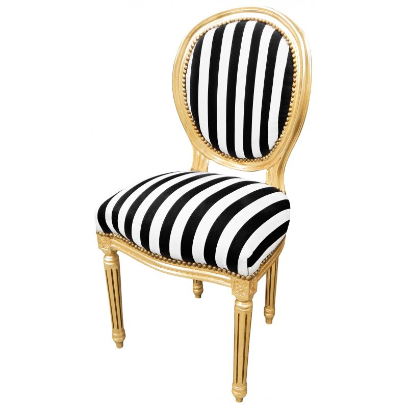 louis xvi style chair with black and white stripes and gilde