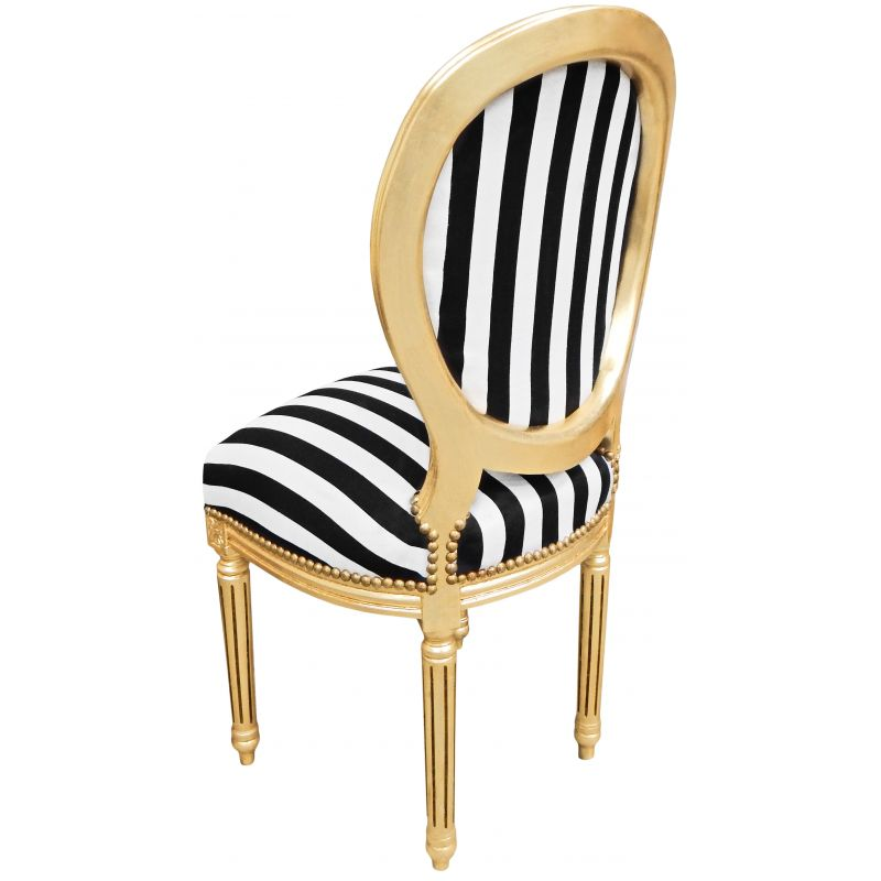 Louis XVI Style Chair With Black And White Stripes And