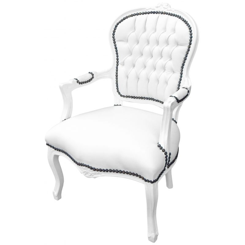 fauteuil baroque de style louis xv simili cuir blanc et bois blanc. Black Bedroom Furniture Sets. Home Design Ideas
