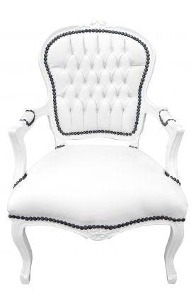 Fauteuil Louis XV de style baroque simili cuir blanc et bois laqué blanc
