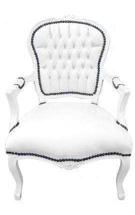 Armchair Louis XV style false white skin leather and white lacquered wood