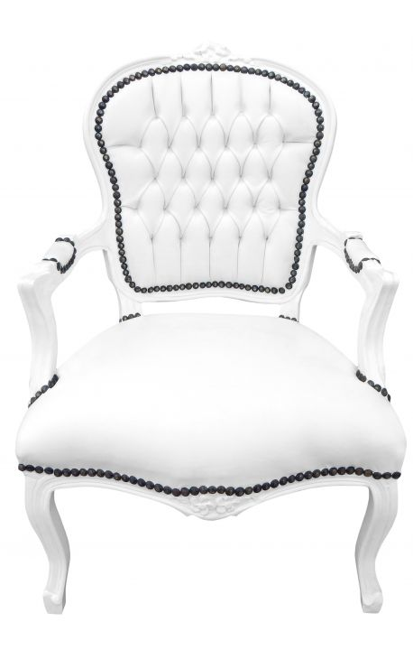 Fauteuil baroque de style Louis XV simili cuir blanc et bois laqué blanc