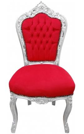 Chaise de style Baroque Rococo tissu velours rouge et bois argenté