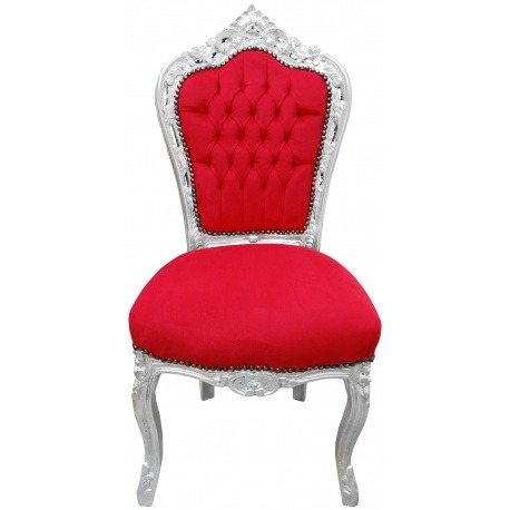 chaise de style baroque rococo tissu velours rouge et bois argent. Black Bedroom Furniture Sets. Home Design Ideas