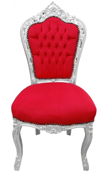 Chair Baroque Rococo style red velvet and silvered wood
