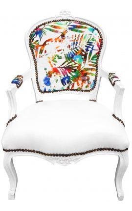 [Edition Limitée] Fauteuil baroque de style Louis XV tissu feuillage multicolore, simili cuir blanc laqué blanc