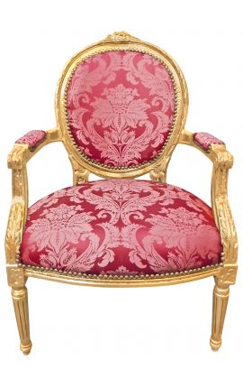 "Baroque armchair of Louis XVI style with burgundy fabric and ""Gobelins"" pattern and gilded wood"