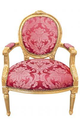 """Fauteuil Louis XVI de style baroque tissu satiné rouge aux motifs """"Gobelins"""" et bois doré"""