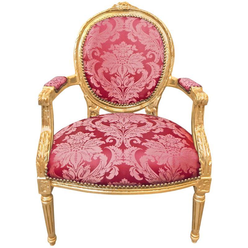 fauteuil baroque louis xvi satin rouge gobelins et bois dor. Black Bedroom Furniture Sets. Home Design Ideas