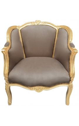 Bergere armchair Louis XV style taupe velvet and gold wood