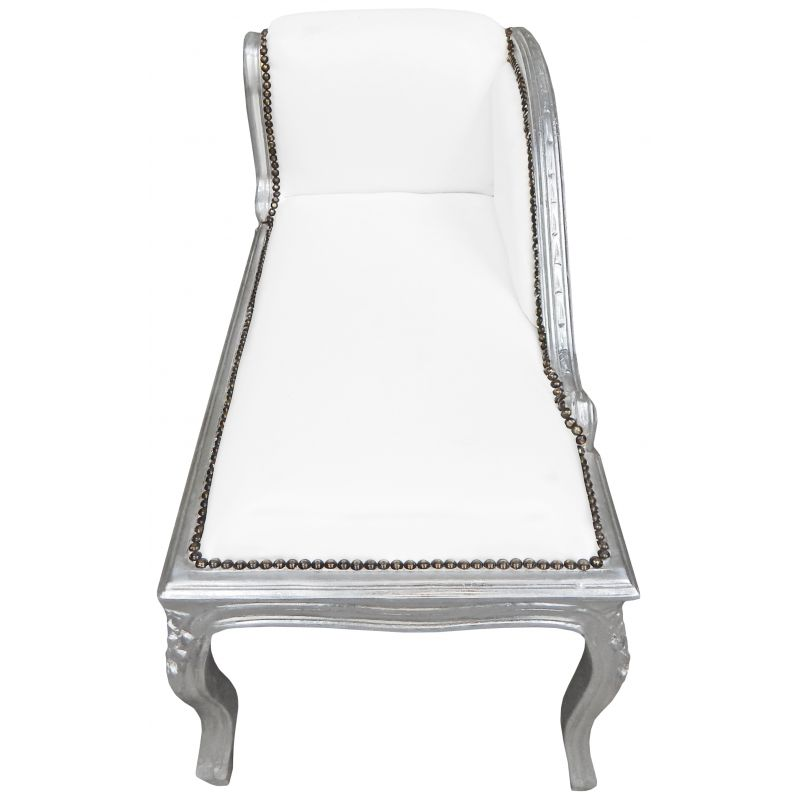 Louis xv chaise longue white leatherette and silver wood for Black and silver chaise longue