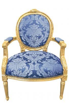 """Fauteuil Louis XVI de style baroque tissu satiné bleu aux motifs """"Gobelins"""" et bois doré"""