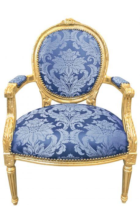 """Барокко кресло Louis XVI голубой ткани """"Gobelins"""" узор и золото древесины"""