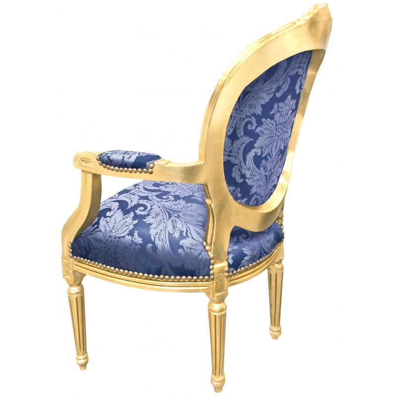 Baroque Armchair Louis Xvi Blue Fabric Quot Gobelins Quot Motives And Gold Wood