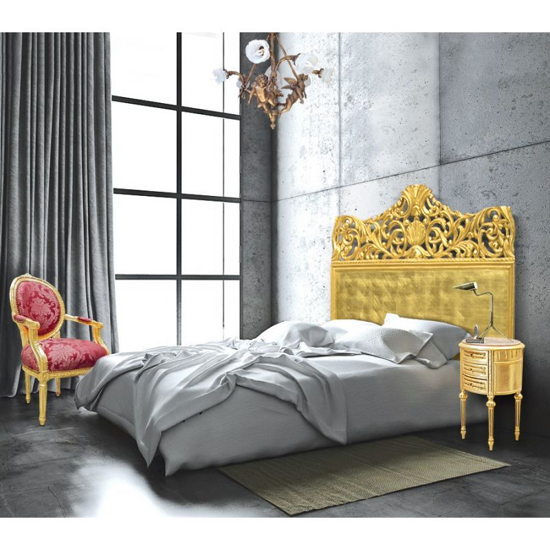 t te de lit baroque en bois dor e la feuille. Black Bedroom Furniture Sets. Home Design Ideas