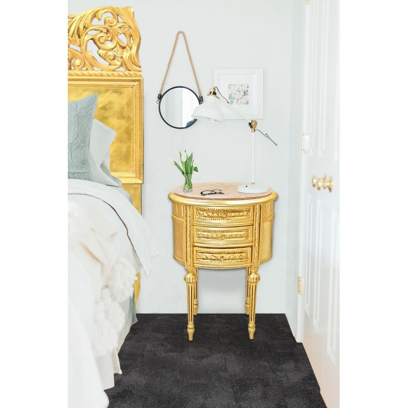 Nightstand Bedside Drum Oval Gold Wood With 3 Drawers