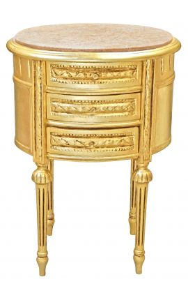 Table de nuit (chevet) tambour ovale en bois doré avec 3 tiroirs et marbre beige