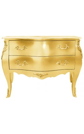 Commode baroque de style Louis XV dorée avec 2 tiroirs