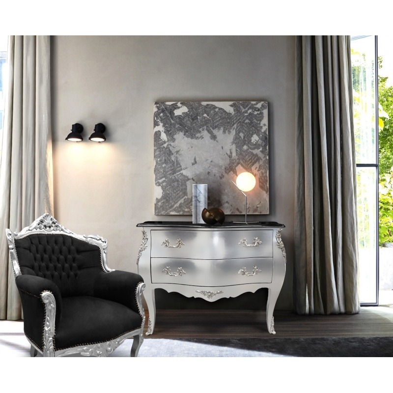 commode baroque de style louis xv argent et plateau noir 2. Black Bedroom Furniture Sets. Home Design Ideas