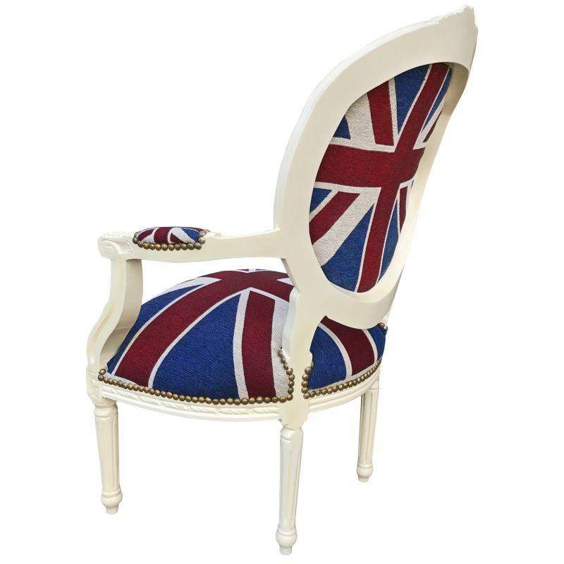 fauteuil baroque de style louis xvi union jack et bois beige. Black Bedroom Furniture Sets. Home Design Ideas