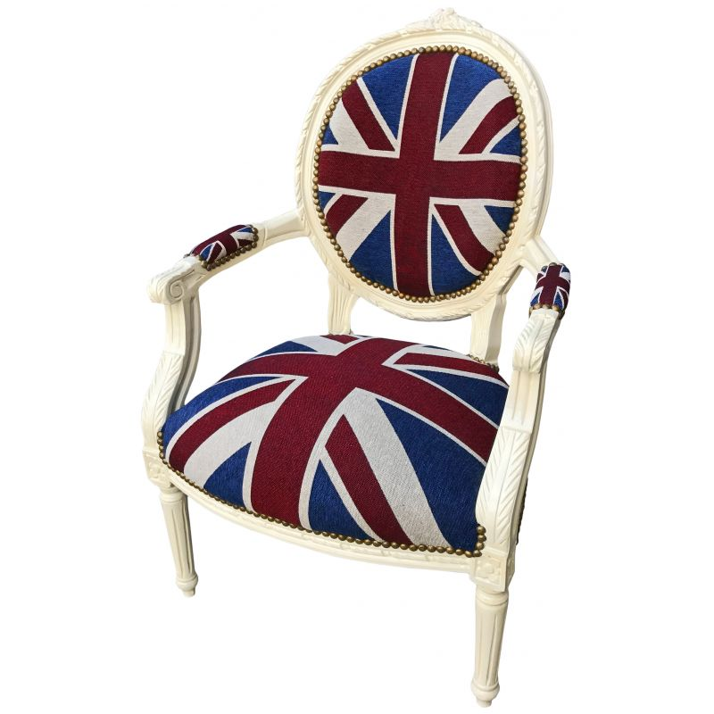 fauteuil baroque de style louis xvi union jack et bois beige. Black Bedroom Furniture Sets. Home Design Ideas